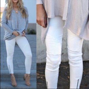 Pants - White moto pants
